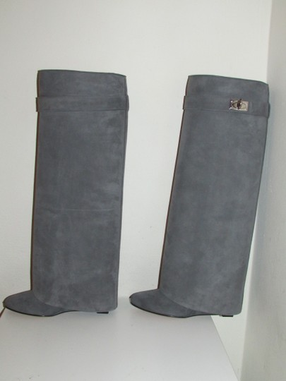 Givenchy Grey Suede Shark Lock Boots Image 3