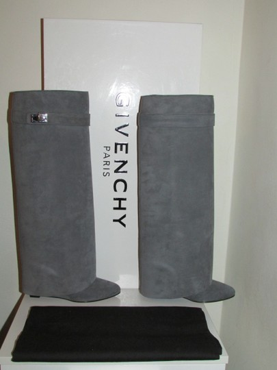 Givenchy Grey Suede Shark Lock Boots Image 4