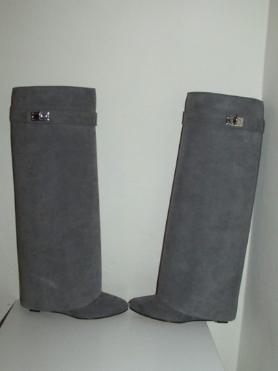 Givenchy Grey Suede Shark Lock Boots Image 9