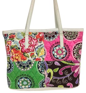 Vera Bradley Tote in bright blues pinks greens