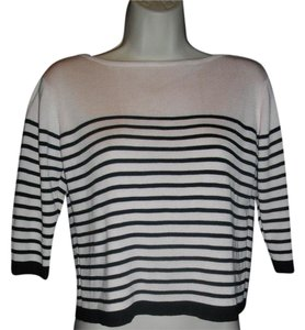 Clio Stripes 3/4 Length Sleeves Boat Neck Sweater