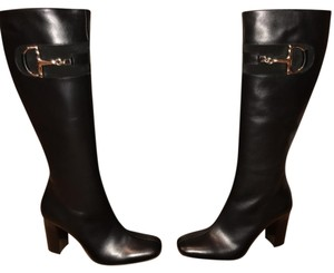 Gucci Detail Patent Leather Italian Black Boots