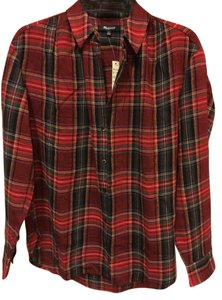 Madewell Slightly Oversized Button Down Shirt Red/Green checkered
