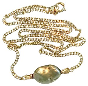 K Accessories Freshwater Pearl Curb Chain Necklace
