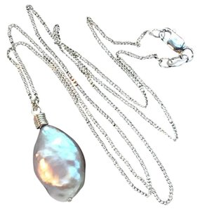 K Accessories Freshwater Pearl Drop Chain Necklace .925