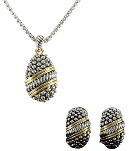 Glam jewelry Co. ** NWT ** 14K TWO-TONE NECKLACE AND STUD EARRING SET