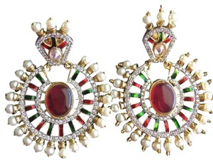 Other NEW large earrings w/ TOPAZ, PEARLS and RUBIES. Studs.