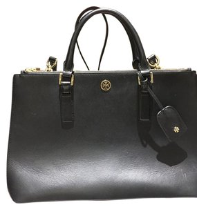 Tory Burch Handbag Robinson Tote in Black Leather with Gold Hardware