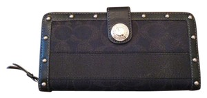 Coach BLACK Signature Jacquard Stripe Zip Around Wallet w/Studs