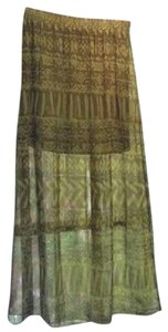 Chelsea & Violet Elastic Waist Boots Country Concert Tribal Affair Maxi Skirt Greens