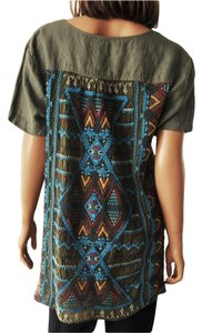 Johnny Was Suniva Linen Shirred Embroidered T-shirt Top Green