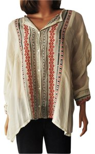 Johnny Was Melvin Shell Button Down Embroidered Tunic Top Multi-color