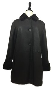 Cole Haan Lambskin Sherling Pea Coat