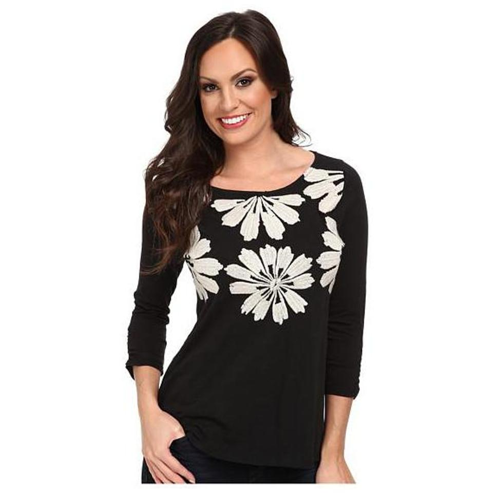88a92da0d9c Lucky Brand Black Daisy Necklace Embroidered Tee Knit Blouse Size 12 ...