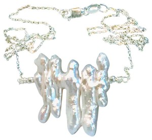 K Accessories Chunky Freshwater Pearl Chain Necklace .925