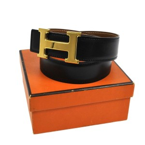 Herms Hermes Constance H Buckle Reversible Black Gold 60 VTG Belt