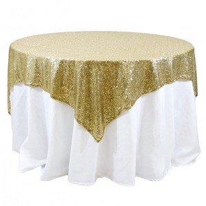 Sequin Champagne Gold Tablecloth Overlay 72x72