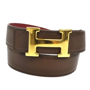 Herms Hermes Reversible Belt Buckle Brown Gold 75