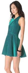 Opening Ceremony Green Navy Circle Skirt Structured Dress