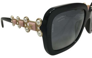 Chanel Bijou Pink Black Fantasy Pearl Square Polarized Sunglasses 5335BA