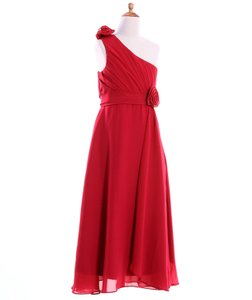 Red Fashion Plaza Girl's A-line One Shoulder Floor Length Long Flower Girl Dress