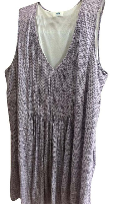 Item - Purple and White Layering Mid-length Short Casual Dress Size 16 (XL, Plus 0x)