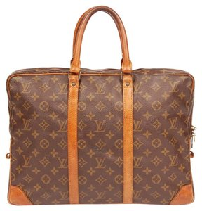 Louis Vuitton Monogram Canvas Briefcase Brown Messenger Bag