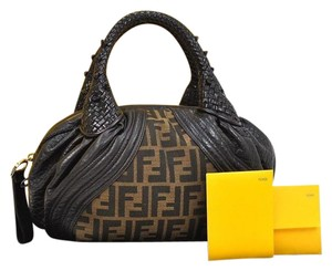 Fendi Zucca Leather Handbag Nylon Tote