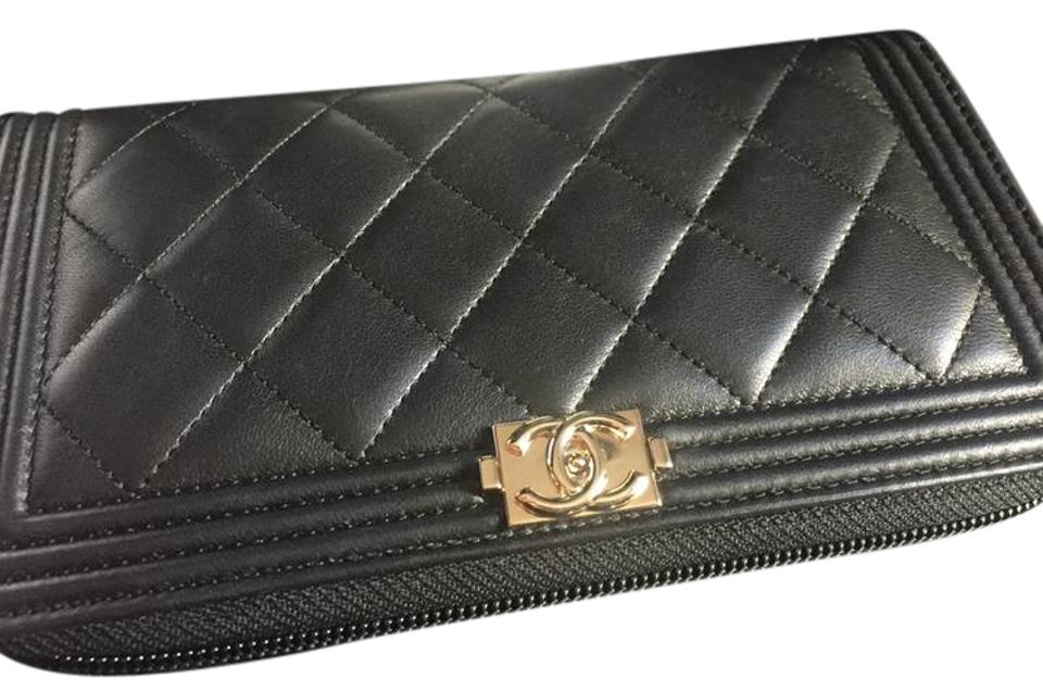 e49fbf782909 Chanel Black Quilted Lambskin Leather Boy L-Gusset Zip Wallet w Gold  Hardware Image 0 ...