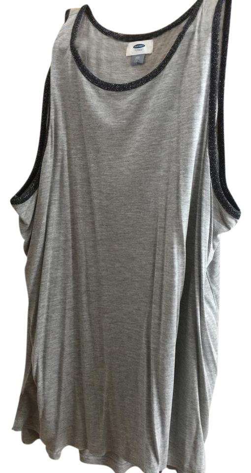 9412552b8d988 Old Navy Grey with Black Sparkly Trim Tank Top Cami. Size  18 (XL ...