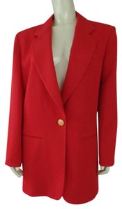 Escada Long Wool Pockets Button Lined Red Blazer