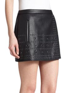 BCBGMAXAZRIA Leather Mini Skirt Black