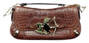 Dolce&Gabbana Medusa Leather Embossed Crystal Evening Baguette