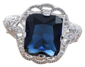 Other Luxury Newest Dark Blue Cubic Zirconia 925 Sterling Silver Ring