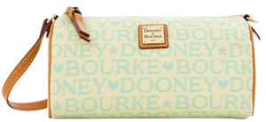 Dooney & Bourke & Small Barrel Fabric Leather Tapestry Satchel in MINT