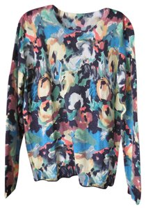 Katherine Barclay Longsleeve Crewneck Banded Abstract Design Wool/Acrylic Blend Sweater