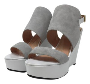 Robert Clergerie Leather Suede White and Gray Wedges