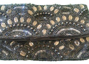 ALDO Art Deco Beaded Silk Vintage slate gray Clutch