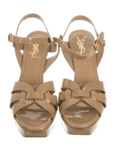 Saint Laurent Saintlaurenttribute Patentleathertribute Sexyheels Tan Sandals