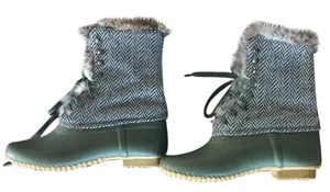 J.Crew green and gray Boots