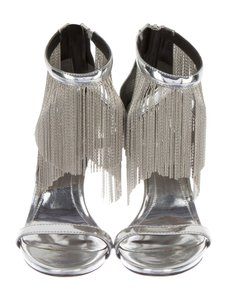 Brian Atwood Sexy Heels Fringe High Heels Silver Nightout Metallic Silver Sandals