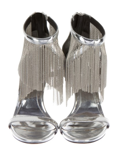 Brian Atwood Sexy Heels Fringe High Heels Nightout Metallic Silver Sandals