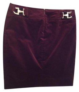 Gucci Gold Hardware Mini Skirt Plum Burgundy