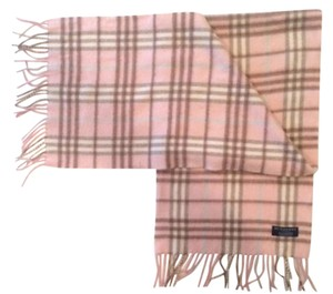 Burberry 100% Cashmere Burberry Pink Plaid Scarf