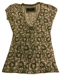 American Eagle Outfitters Floral T Shirt green & cream