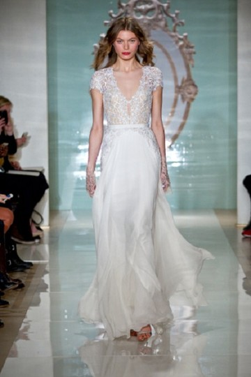 Reem Acra White Wedding Dress Size 6 S