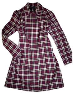 Express Wool Scottish Plaid Burberry Plaid Trench Trench Coat