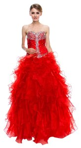 Bicici & Coty Sweetheart Ball Gown Organza Beading X136 Dress