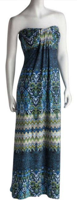Multi-color Maxi Dress by Glam South Beach Maxi Sundress Maxi Strapless Print Moroccan Exotic Swim Cover-up