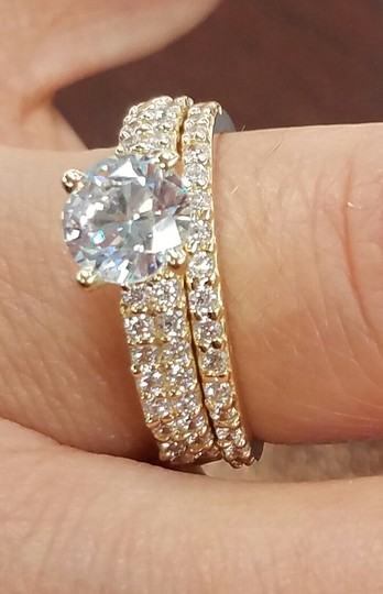Yellow Gold 14k Round Man Made Diamond Engagement Ring ...